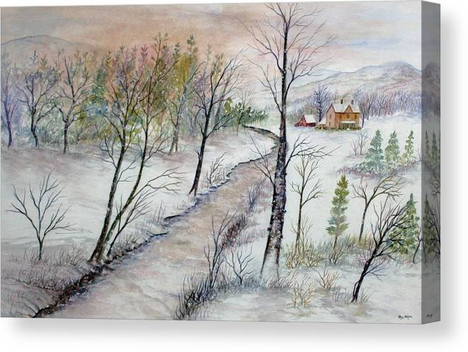 Snow; Creek; Trees; Old House; Sunrise;mountains Canvas Print featuring the painting A Country Winter by Ben Kiger