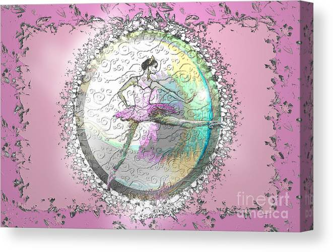 Ballet Canvas Print featuring the digital art A La Second Pink Variation by Cynthia Sorensen