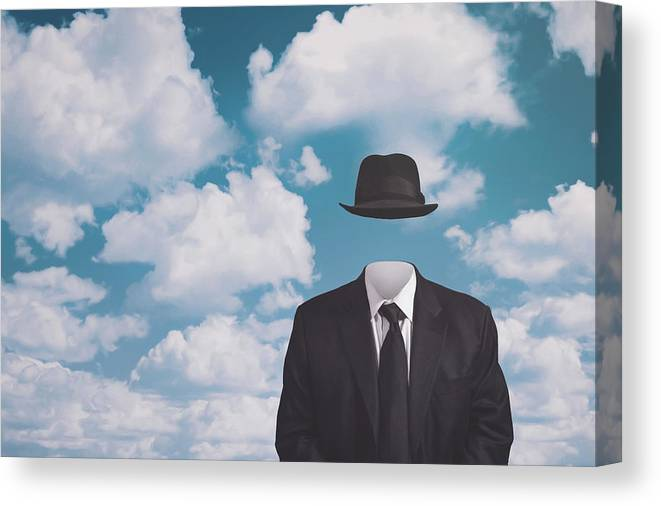 Rene Magritte Canvas Print featuring the photograph A Riff On Magrittes The Pilgrim by Scott Norris
