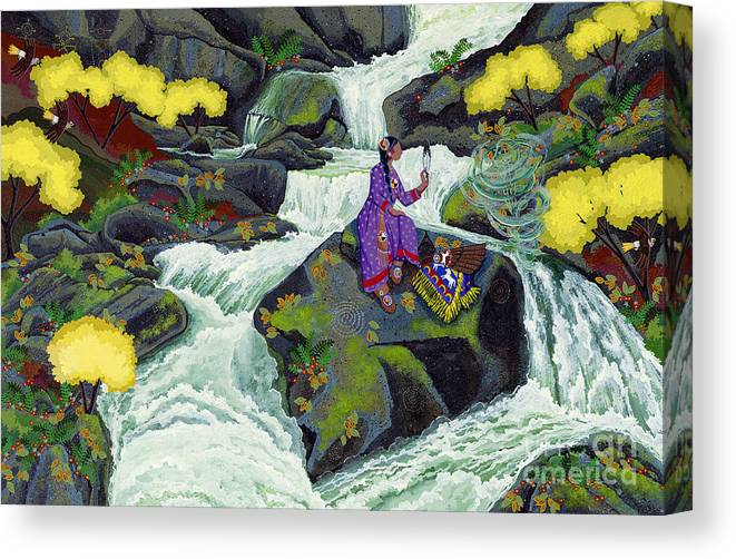 Native American Canvas Print featuring the painting A Visit From Whirlwind by Chholing Taha
