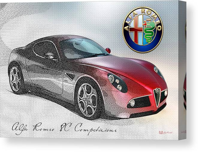 Wheels Of Fortune By Serge Averbukh Canvas Print featuring the photograph Alfa Romeo 8C Competizione by Serge Averbukh