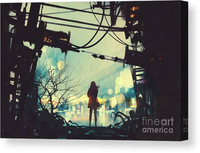 Illustration Canvas Print featuring the painting Alone In The Abandoned Town#2 by Tithi Luadthong