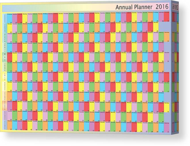 2016 Canvas Print featuring the photograph Annual planner 2016 specific color for each day of the week blac by Adrian Bud