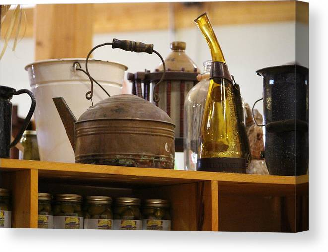 Antique Teakettle Canvas Print featuring the photograph Antique Teakettle and Amber Bottle by Colleen Cornelius