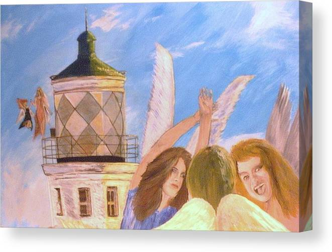 Look April Canvas Print featuring the painting Aprils flying by J Bauer