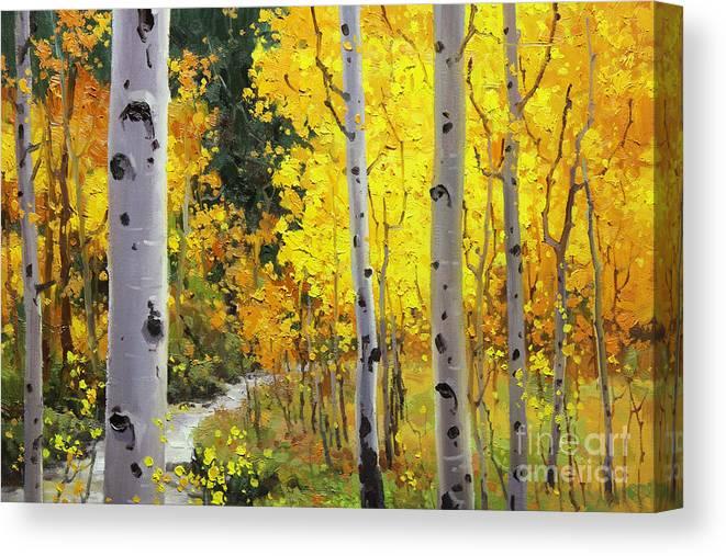 Aspen Stream Over Aspen Mountains Landscape Scenic Nature Fall Sky Aspen Trees Fall Foliage Canvas Print featuring the painting Aspen Stream by Gary Kim