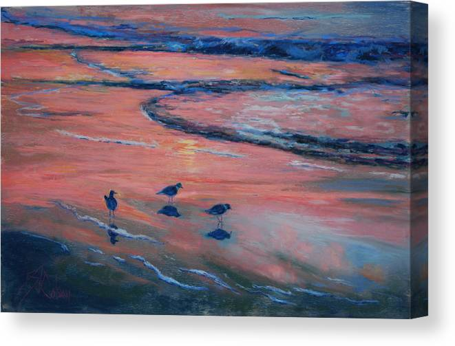 Beach Scenes Canvas Print featuring the painting Beach Combers by Billie Colson
