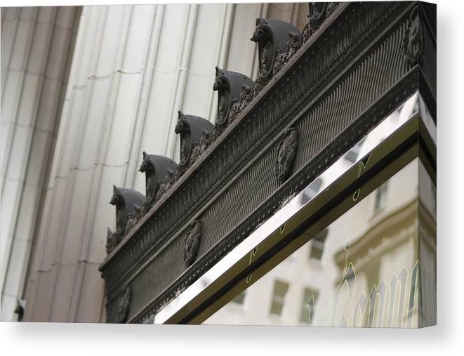 Black And White Canvas Print featuring the photograph Black Ornate Trim on Marble White Building by Colleen Cornelius