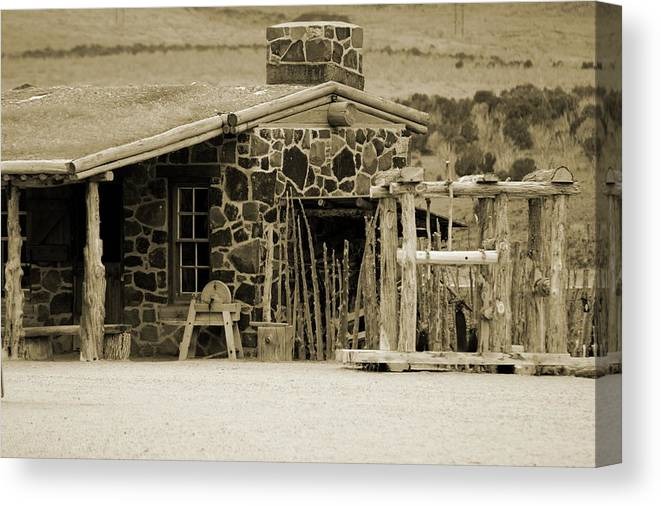 1867 Canvas Print featuring the photograph Blacksmith Shop 1867 Cove Creek Fort Utah Photograph in Sepia by Colleen Cornelius
