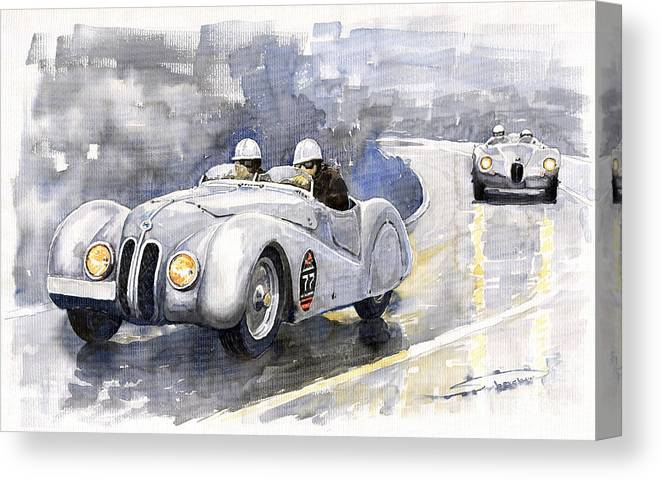 Auto Canvas Print featuring the painting BMW 328 Roadster by Yuriy Shevchuk