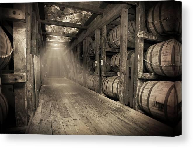 Bourbon Barrel Canvas Print featuring the photograph Bourbon Barrels by Glass Glow by Karen Varnas