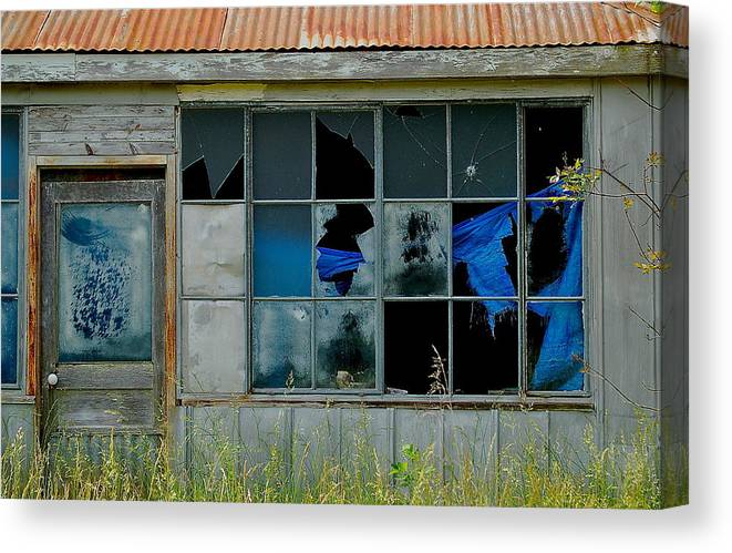 Store Broken Color Canvas Print featuring the photograph Broken Store Front Color by Kevin Mitts