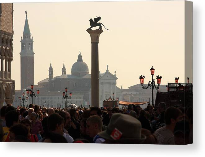 Venice Canvas Print featuring the photograph Busy Day at St. Mark's Square by Michael Henderson