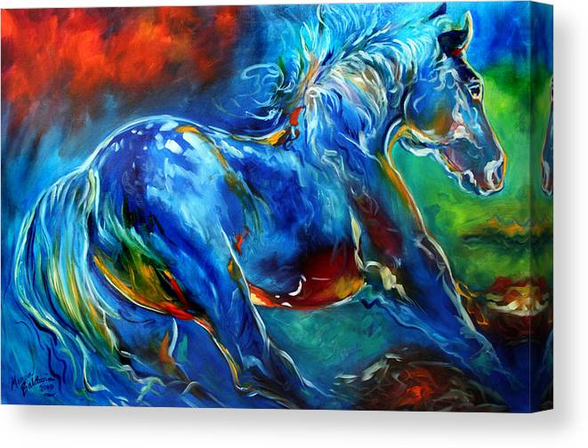 Horse Canvas Print featuring the painting Captured Wild Stallion by Marcia Baldwin