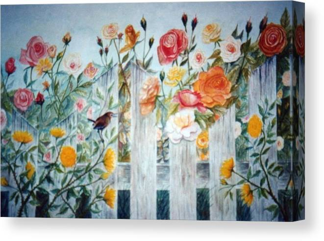 Roses; Flowers; Sc Wren Canvas Print featuring the painting Carolina Wren and Roses by Ben Kiger