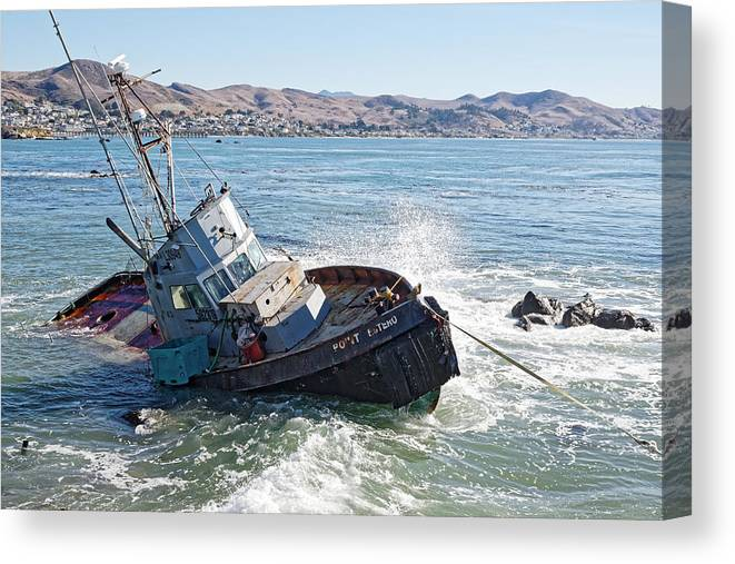 Darin Volpe Ships And Boats Canvas Print featuring the photograph Catch Of The Day -- Abandoned Fishing Boat In Cayucos, California by Darin Volpe