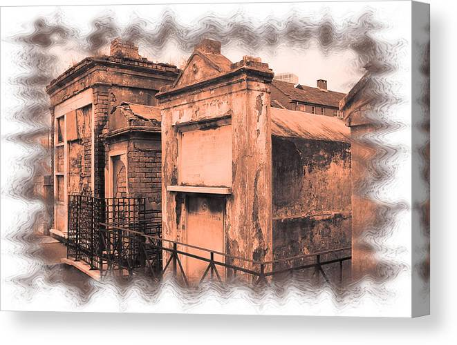 New Orleans Canvas Print featuring the photograph Cemetary Row by Linda Kish