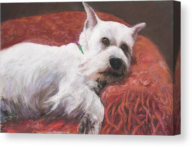 White Dog Canvas Print featuring the painting Charlie by Billie Colson