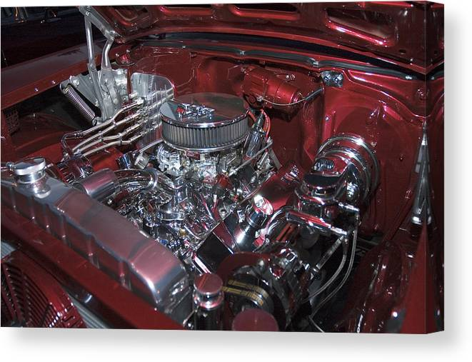 Auto Canvas Print featuring the photograph Chrome Red and Powerful by Richard Henne