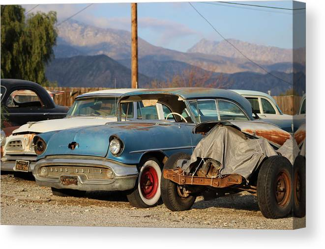 Classic Car Canvas Print featuring the photograph Classic Chevy True Blue by Colleen Cornelius