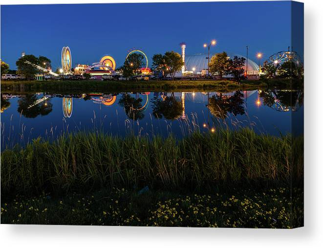 Cle Lights Canvas Print featuring the photograph Cle Reflection by Linda Ryma