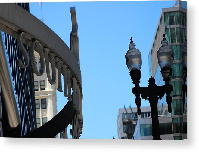 Lamp Canvas Print featuring the photograph Clear Street Lamp Downtown Chicago by Colleen Cornelius