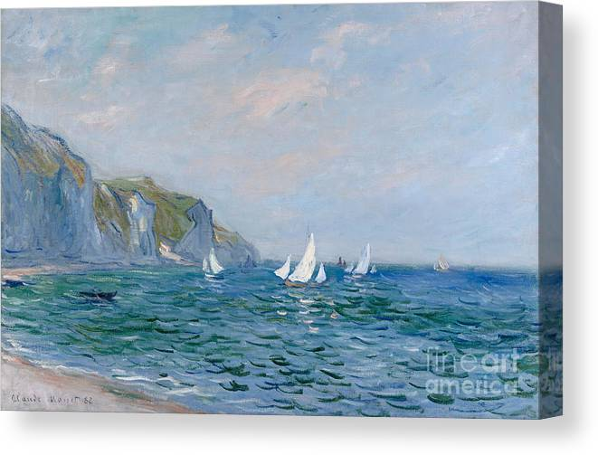 Cliffs And Sailboats At Pourville Canvas Print featuring the painting Cliffs and Sailboats at Pourville by Claude Monet