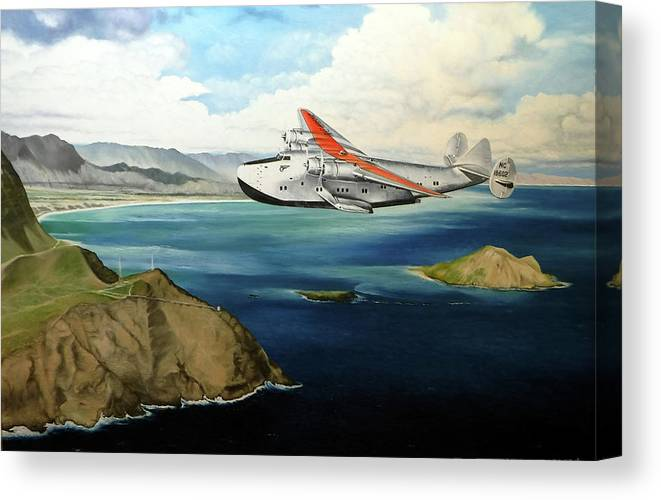 Clipper Canvas Print featuring the painting Clipper at the Makapu'u Light by Marcus Stewart