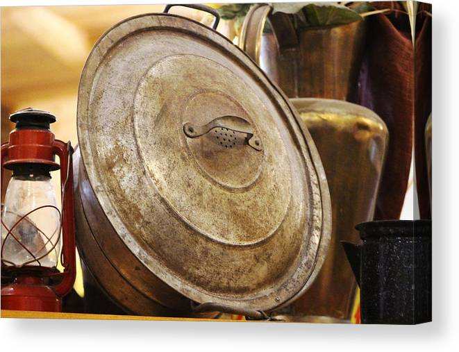 Hurricane Lamp Canvas Print featuring the photograph Closeup of Antique Pot and Hurricane Lantern by Colleen Cornelius