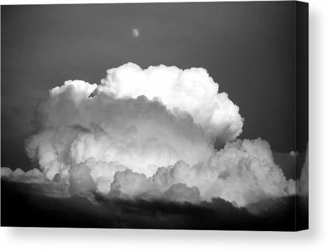 Cloud Moon Black And White Canvas Print featuring the photograph Cloud And Moon by Kevin Mitts