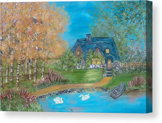 Cottage Canvas Print featuring the painting Country Cottage by Mikki Alhart