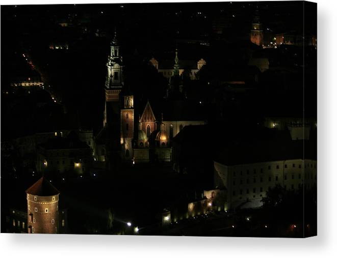 Night Canvas Print featuring the photograph Cracow By Night by Marta Grabska