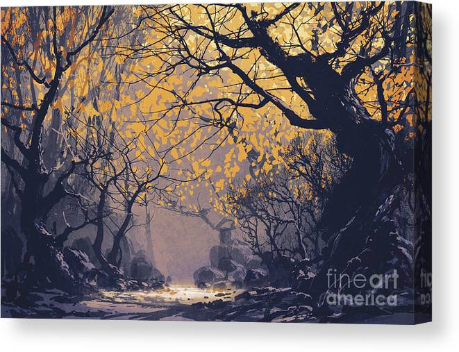 Art Canvas Print featuring the painting Dark Forest by Tithi Luadthong
