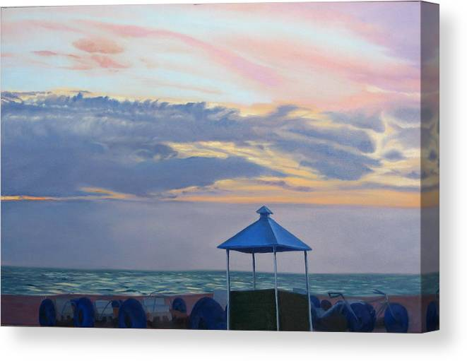 Sunset Canvas Print featuring the painting Day Is Done by Lea Novak