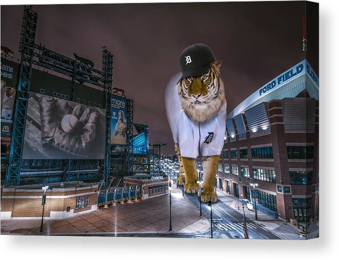 Star Wars Canvas Print featuring the photograph Detroit Tigers at Comerica Park by Nicholas Grunas