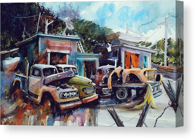 Trucks Canvas Print featuring the painting Down on the Lower Road by Ron Morrison