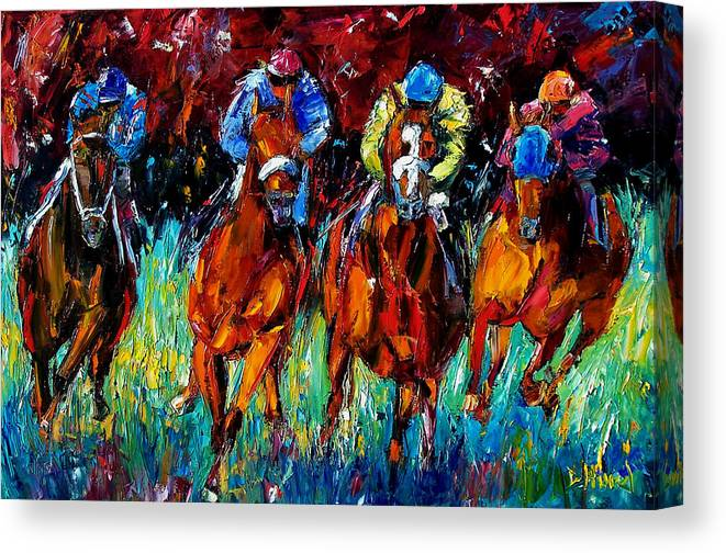 Horse Race Canvas Print featuring the painting Endurance by Debra Hurd