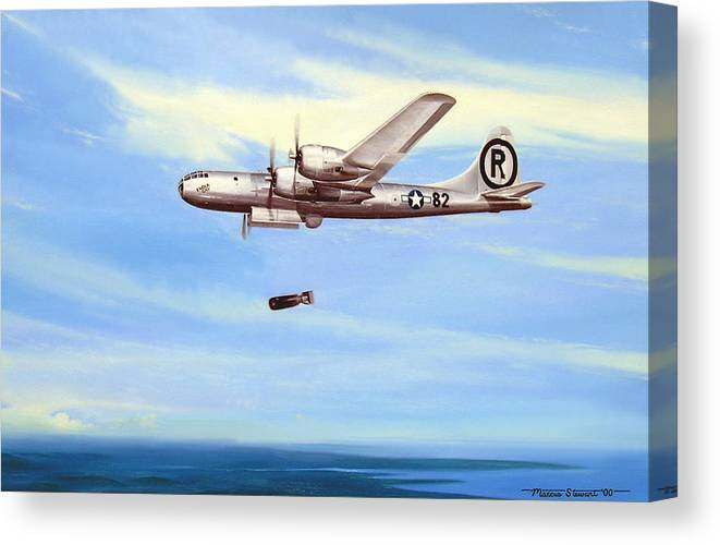 Military Canvas Print featuring the painting Enola Gay by Marc Stewart