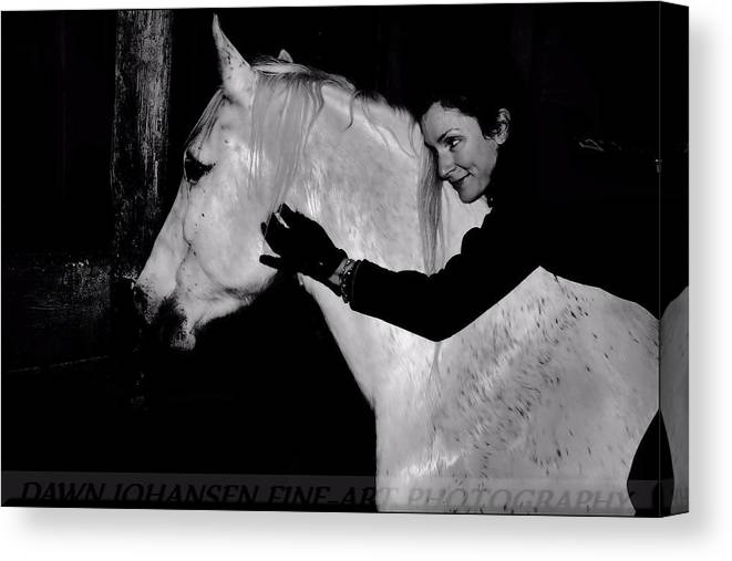 White Horse Canvas Print featuring the digital art Erin and Mikey by Dawn Johansen