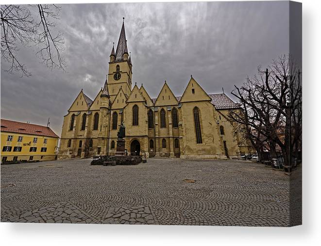 Architecture Canvas Print featuring the photograph Evangelical Cathedral Sibiu Romania by Adrian Bud