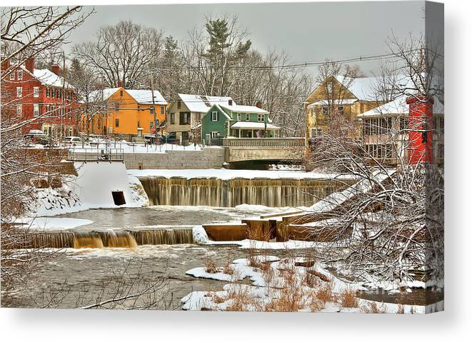 Exeter New Hampshire Canvas Print featuring the photograph Falls on Exeter River by Diana Nault
