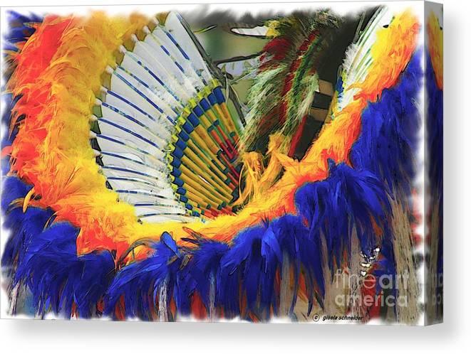 American Canvas Print featuring the photograph Fancy Dancer ... Montana Art Photo by GiselaSchneider MontanaArtist