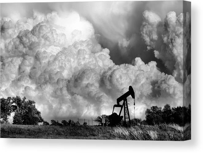 Oil Rig Canvas Print featuring the photograph Field of Nightmares by Karen Scovill
