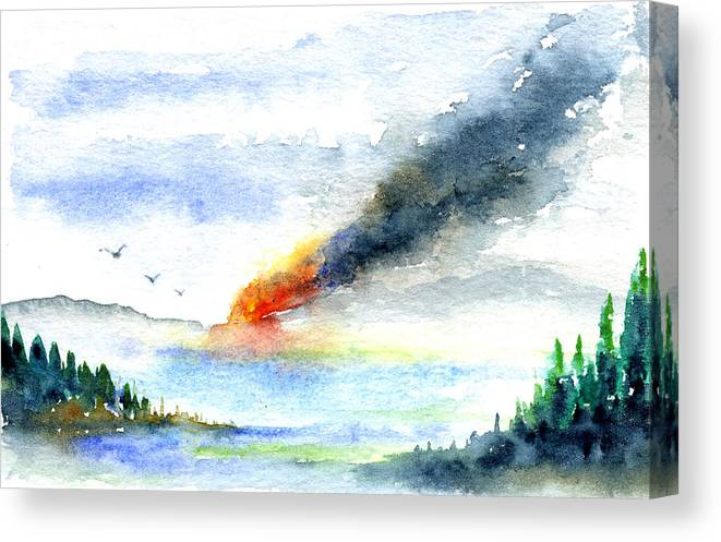 Fire Canvas Print featuring the painting Fire in the Mountains by John D Benson
