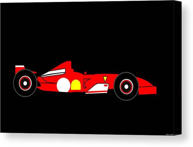Ferrari Canvas Print featuring the digital art Formula One Ferrari by Asbjorn Lonvig