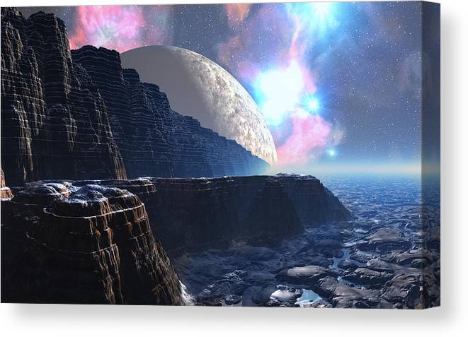 David Jackson Fortress Of Nimmbl Alien Landscape Planets Scifi Canvas Print featuring the digital art Fortress of Nimmbl by David Jackson