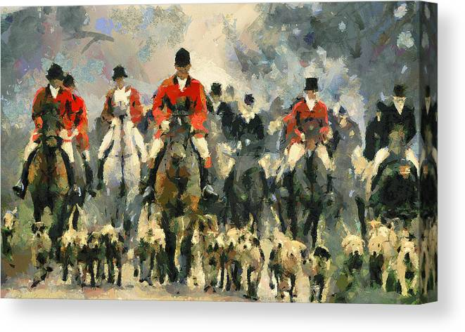 Fox Canvas Print featuring the digital art Fox Hunting by Yury Malkov
