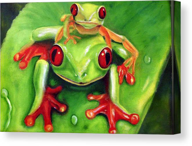 Red Eyed Tree Frog Canvas Print featuring the painting Frog Rodeo by Darlene Green