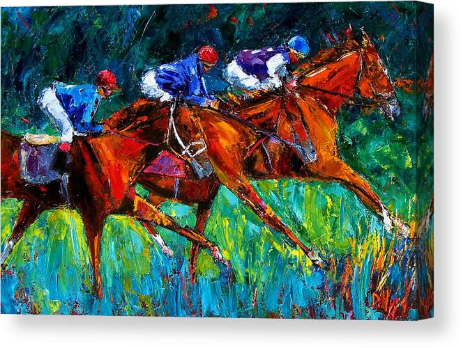Horse Race Canvas Print featuring the painting Full Speed by Debra Hurd