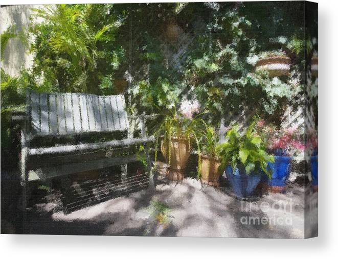 Garden Bench Flowers Impressionism Canvas Print featuring the photograph Garden bench by Sheila Smart Fine Art Photography
